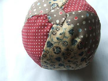 Completed Patchwork Fabric Ball Project